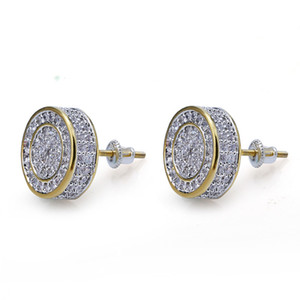 925 STERLING ICED Stud Out Cz Premium Diamond Zirconia per Argento rotondo Silver Hip Vite Cluster Hop Earrings Uomo Gioielli MTRKL