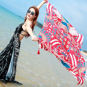 2020 NEW Women Sunscreen Scarf Air Conditioning Warm Shawl Beach Towel Cotton Linen Ethnic Style Scarf 12 Styles for Choose