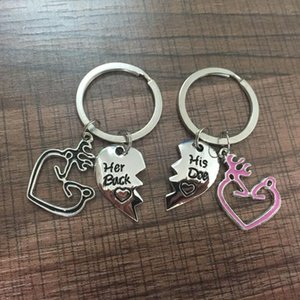 New arrival Fashion Her Buck His Doe Keychain Broken Heart Splicing Keyring Elk Antlers Deer Couple Key Chain Holder Ring Chaveiro