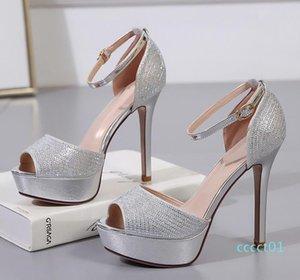12cm talons d'or d'argent de demoiselle d'honneur élégant strass chaussures de mariage des femmes design de luxe de la mode chaussures taille 34 à 39