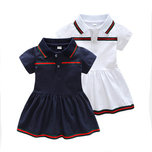 çok moda yaka tasarım yaka kız elbise yaz kısa kollu çizgili fırfır kız elbise giyim düğmesi fabrika elbise
