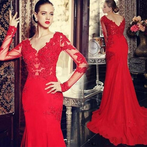 2020 Sexy V-Neck Mermaid Evening Dress Appliques Lace Long Sleeve Court Train Evening Gowns Formal Party Prom Dresses New Free Shipping
