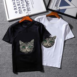 صيف فاخر MensT شيرت مصمم العلامة التجارية القمصان موضة قمصان القط رسالة طباعة فضفاض طاقم الرقبة تنفس قصيرة الأكمام قمم