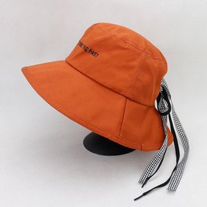 Cotton letter embroidery Bow big Bucket Hat Fisherman Hat outdoor travel Sun Cap Hats for men and Women 511