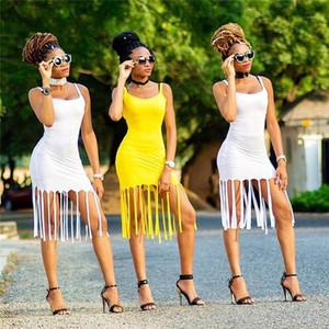 Pullover Partei-Kleid Famale Designer Kleidung der Frauen reizvolle Troddel Nachtclub-Kleid Fest Farbe Sling-dünner U-Ausschnitt