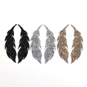 Leaf Feather Crystal Rhinestone Patch Iron on Patches for Clothing Heat Transfer for T-shirt Badges Applications DIY Appliques G