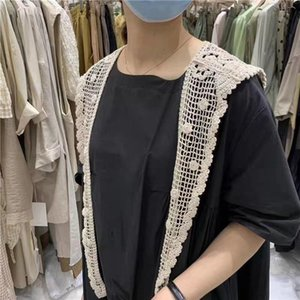 Small Shawl Short Sunscreen Small Waistcoat outside Small Scarf Spring and Summer Korean-Style Thin Flower Lace Cutout All-match