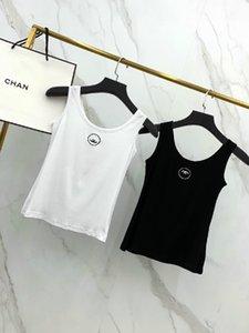 2020 femmes américaines hauts sexy manches boîte de nuit de luxe Hauts femmes Tanks logo poitrine courte confortable broderie vestes sous-vêtements minces