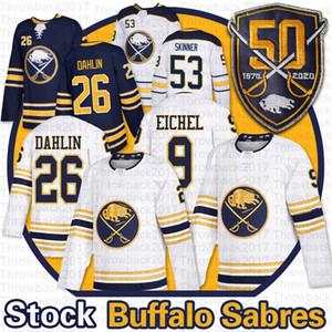 Buffalo Sabers 50-й Джерси 9 Джек Eichel 53 Джефф Скиннер 26 Расмус Далин Дома домой Пустые Мужские Золота Хоккей