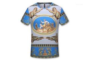 T-shirts Verão O pescoço seda fina de manga curta roupa Tees Men 3D Luxury Printed