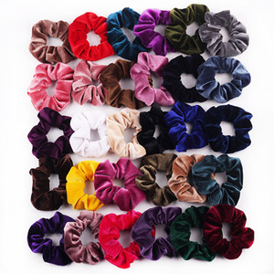 Girl Frauen-Samt-Haar Scrunchies Krawatte Zubehör Pferdeschwanz-Halter Scrunchy Haarbänder Velours Haarschleife Pleuche Kopfbedeckung