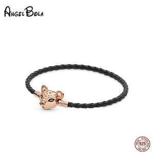 Authentic Gold Sparkling Lion Princess Woven Leather Bracelets For Women Cute Fine Jewelry 925 Sterling Silver Charms Bracelet