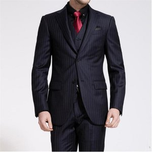 New Elegant Male Suit Formal Slim Black Suits Stripe Groom Wedding For Men Best Man paty Blazer With Mens Suits 3 Pieces (Jacket Pants vest)