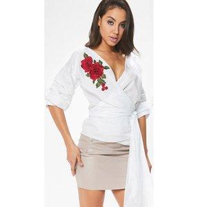Nuovo floreale alla moda Moda estate delle donne ricamato Fiore Camicia casuale mezza scollo a V Top allentati