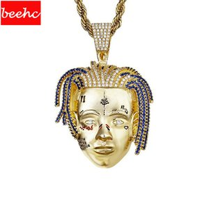 Rapper XXXTentacion Necklace Hiphop punk necklace Iced Out Crystal stone Pendant Twist Chain Charm Jewelry fans Gifts