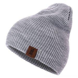7 colori PU Lettera veri Berretti casual per Cappelli Cappelli Cappelli, Sciarpe Guanti donne degli uomini del ragazzo della ragazza di moda a maglia cappello di inverno Solid Hiphop Cod