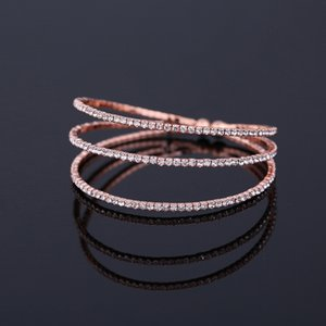 Elegante de Cristal Strass Bangles Banhado A Prata e Placa de Ouro de Metal Lado Bonito Pulseiras Abertas Pulseira para As Mulheres