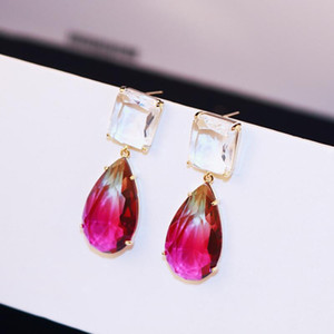 Brand new fashion exaggerated baroque luxury zircon earrings jewelry female wild 18K gold plated earrings brand high-quality earrings