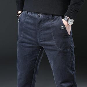 Nuovo inverno Brown Corduroy strisce mens pantaloni di modo casuale pantaloni invernali di affari del Mens Pantaloni Pantaloni Hombre