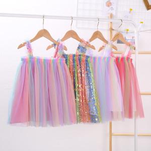 INS Bebés Meninas Tutu Vestidos Crianças Sling Gauze saia Novo Partido verão elegante da bolha do arco-íris Gauze Tulle saia 6 cores de 2020
