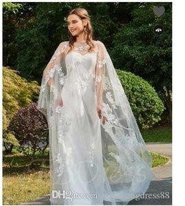 Wedding Dresses 2018 Strapless Appliques Column Wedding Dress with Shawl