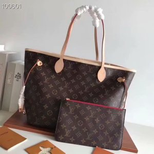 yeni gerçek deri kanvas çanta kadın çantası kız torbaları omuz çantasıLVBir kavrama Cüzdan ile çanta messenger çanta 40995