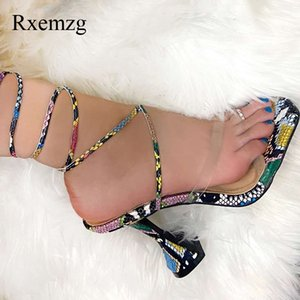 Rxemzg fashion summer snake print cross-tied gladiator sandals women shoes high heels sexy open toe shoes for women sandals35-40