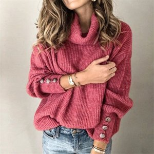 High Colar Womens Designer Sweaters Sliver Button Solid Color Casual Loose Long Sleeved Pullover Sweaters Fashion Women Sweaters