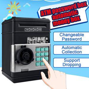 새로운 전자 돼지 저금통 ATM 비밀번호 돈 상자 현금 동전 저장 상자 ATM 은행 금고 자동 입금 은행권 아이 선물