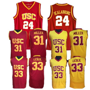 USC Trojans Jerseys College 농구 31 Matt Miller 33 Lisa Leslie 24 Brian Scalabrine 저지 남성 대학 봉제 노란색 빨강 팀 색상