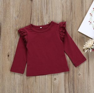 Clothes Newborn Baby Boys Girls Ruffles Candy Long Sleeve Tops O-Neck T -Shirt Kids Cotton Daily Tops Clothes
