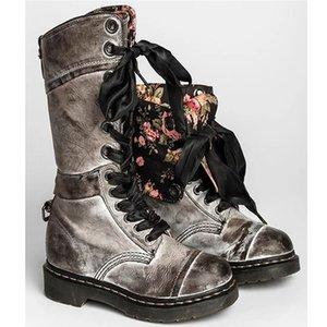Moda Moto Stivali per le ragazze primavera / autunno Zeppe robusta Sole metà polpaccio Boots Donna Lace Up Solid Casual Shoes Donne kl9