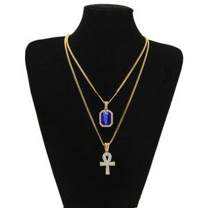 Pendentif croix Colliers Set Men Hip Hop Bijoux égyptiens Ankh clé de la vie bling strass charme avec collier Statement Couple Red Ruby