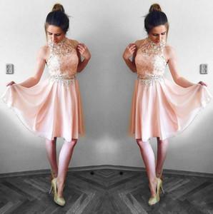 Bella Blush Pink Abiti Homecoming 2019 Una linea Halter Neck Lace Top in chiffon Mini breve vestito da cocktail Abiti del partito Vestito da laurea