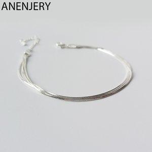 ANENJERY simple serpiente de plata de ley 925 cadena del hueso para el tobillo pulsera para las mujeres Regalo de la muchacha S-B348