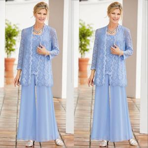 Céu Azul De Mangas Compridas Mãe da Noiva Ternos Lace Appliqued Três Peças Mãe Evening Formal Wear Com Jaqueta Pnats Plus Size