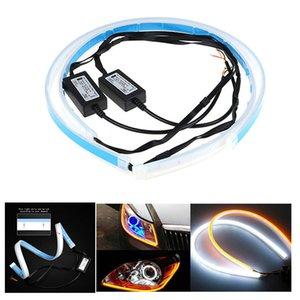 2ST Weiche 60cm Auto Auto Sequential Flow Strip LED Flexible DRL Scheinwerfer Blinker Switchback-Licht-Lampe