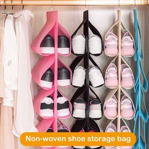 Обувь для хранения висит сумку пыле Организатор Вращающуюся для шкафа бытовой Спальни -OPK