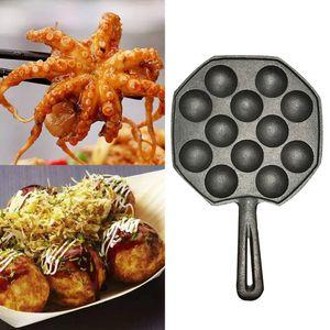12 hoyos fácil de limpiar bricolaje Takoyaki Pan pulpo bolas de la hornada del molde fabricante de la parrilla Quemar plato de cocina utensilios de cocina
