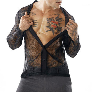 Designer Tshirts Sexy Loose Cardigan Loose V Neck Long Sleeved T Shirts Fashion Mens Tees Mesh Perspective Mens