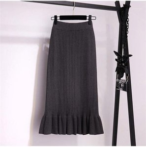 Skirt Females Fashion Solid Color Casual Clothes Womens Knit Trumpet Slim Skirts Autumn Winter Designer One Step Ruffle Thicken
