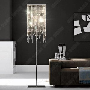 Led de cristal Piso Luzes Modern cristal Candeeiro Lustres Floor Stand Luminária Cristal prata Candelabra Standing Hotel Crystal Lamp