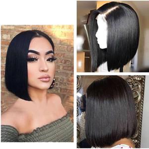 Парик фронта перуанский Silk Top человеческих волос парики Короткие Боб полный парик шнурка Glueless ЛПП шнурка с Silk Base