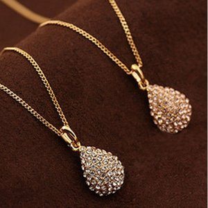 Princess Angel Tears Temperament Fashion Short Paragraph Large Water Drop Full Diamond Necklace Crystal Korean Version Water Drop Necklace