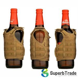 Mini Tactical Vest Außen Molle Westen Miniatur Wein Getränke Bier Champagner-Flaschen-Abdeckung Vest Getränkekühler verstellbarer Schultergurt