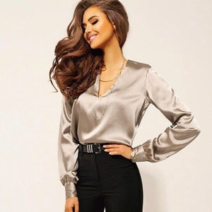 2019 Seksi Moda V Yaka Saten Bluz Gömlek Casual Uzun Kollu Düğme Kadın İnce Bluzlar Ofis Lady Gömlek Şık Gömlek Tops