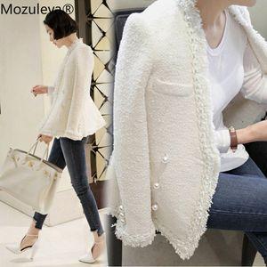 Mozuleva 2019 Marca Señora Invierno perlas borlas de lana capa de la chaqueta de las mujeres de la vendimia Casaco Femme caliente Chaqueta de tweed elegante abrigo