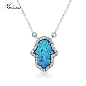 KALETINE Opal Хамса Рука Фатимы Шарм Подлинная 925 стерлингового серебра ожерелье ювелирных изделий Длинные цепи ожерелье KLTN022 CX200609