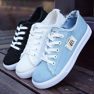 Плоские туфли женщина холст синтетические твердые мода девушки кроссовки Женская обувь дешевые Sapato Feminino ткань Повседневная обувь резина MX190816