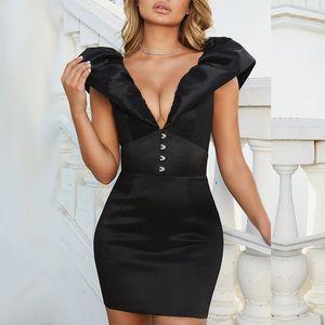 Novos Vestidos Estilo das mulheres Vestidos 20ss Mulheres Designer Vestidos Sexy profunda V Neck mangas Moda slim BODYCON